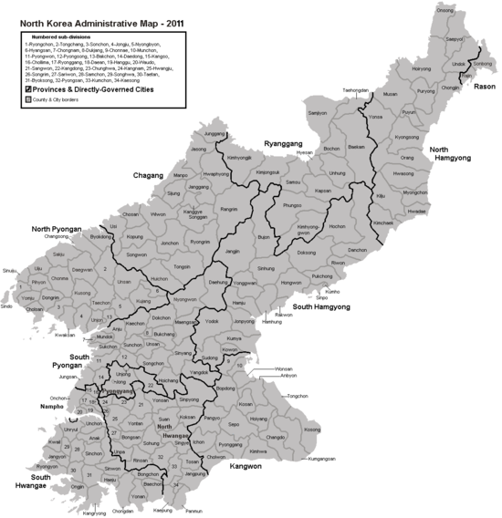朝鲜各行政区域人口数量排名