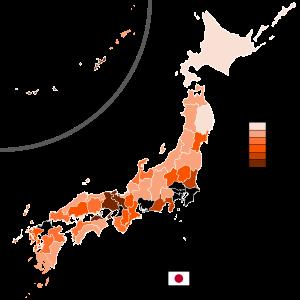 日本各县人口数量和面积排名(2019年)