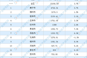 2020年广西壮族自治区各市GDP排名